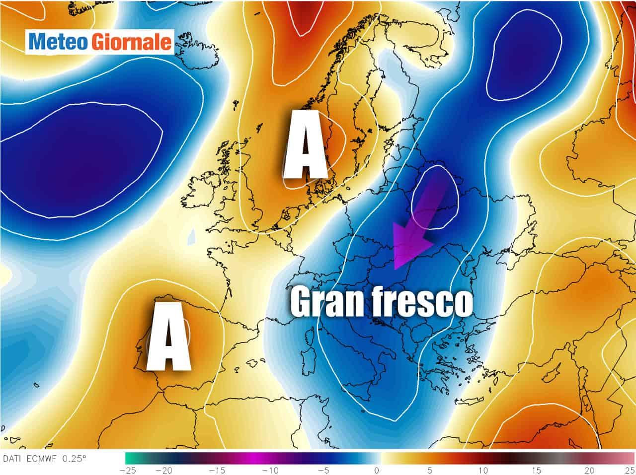 anomalie termiche - METEO della prossima settimana: temperature in picchiata