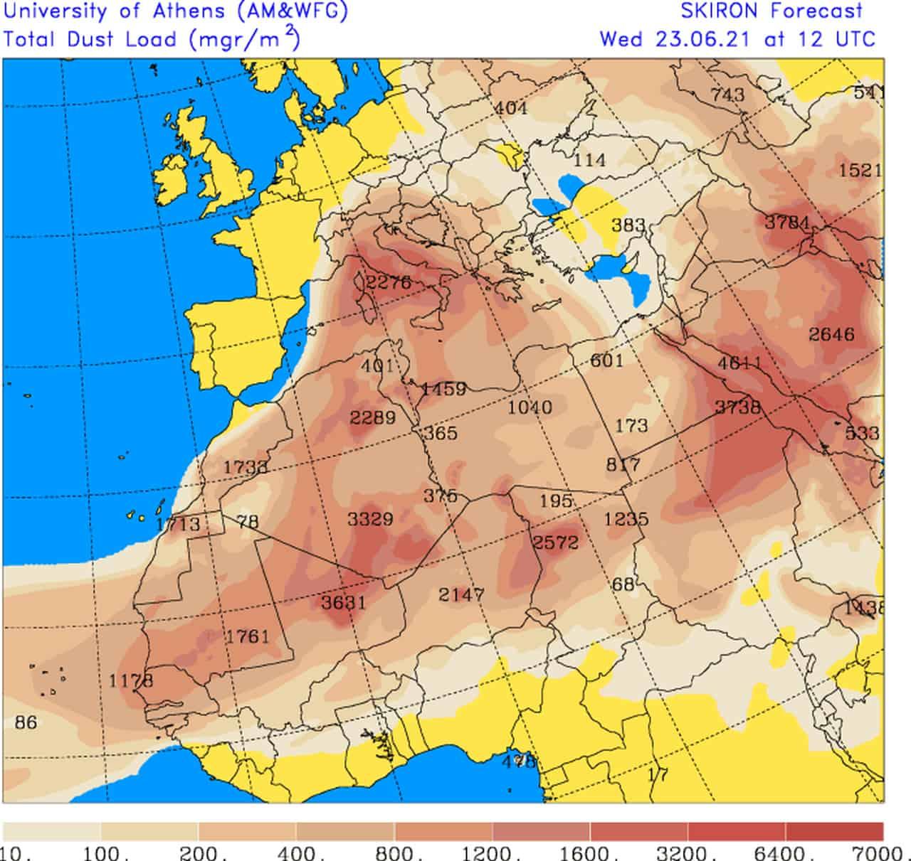 dust load - Meteo e la CAPPA D'AFRICA su Italia. Massiccia invasione di sabbia dal Sahara