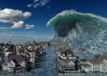 Tsunami illustrazione in 3D