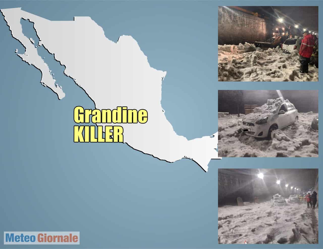 grandine messico 01 - Grandinata intrappola e uccide di ipotermia un uomo in Messico. Foto