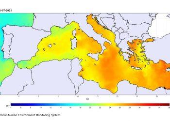 Mediterraneo in fase di forte riscaldamento stagionale