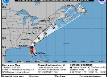 traiettoria uragano elsa